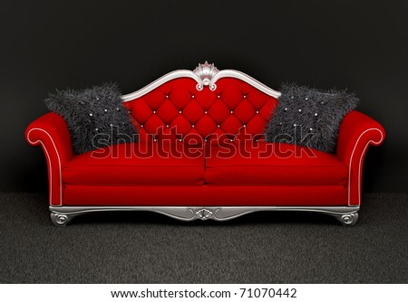 Modern sofa with two  furry cushions in interior - stock photo