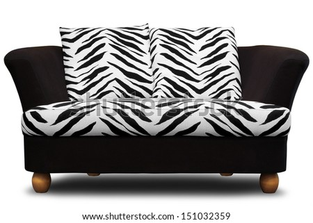 modern sofa with zebra pattern isolated on white background  - stock photo
