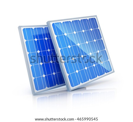 Modern Solar panel on white background (done in 3d rendering)