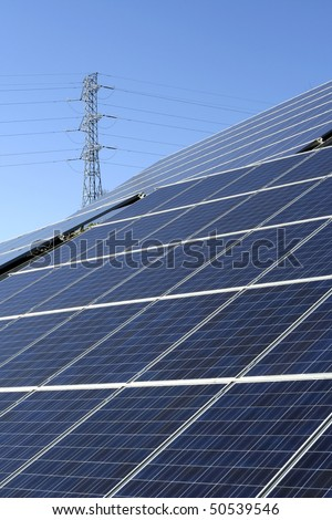 Modern solar photo voltaic panels with great blue cells with perspective view. Great for energy and environment themes.