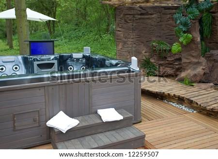 modern spa  bath outside - stock photo