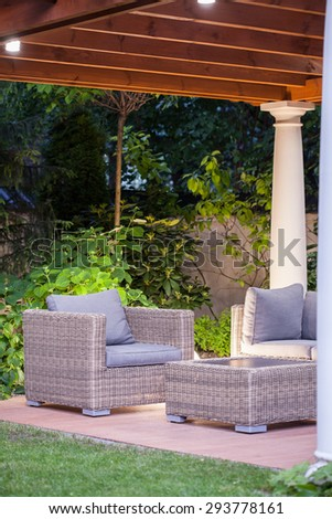 Modern space for relax in beauty garden - stock photo