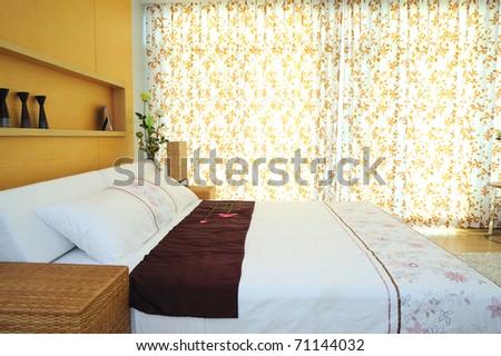 Modern Spacious Bedroom - stock photo