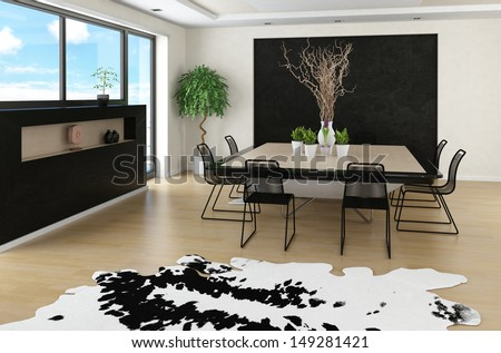 Modern spacious interior with huge dining table - stock photo