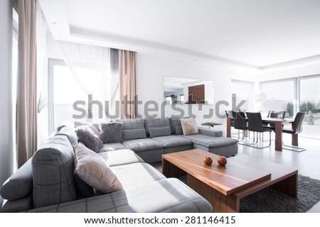 Modern spacious lounge connected with dinning hall - stock photo