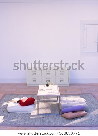 Modern spacious lounge or living room interior  - stock photo