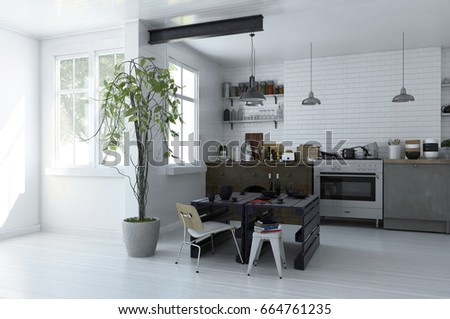 modern electric chair. modern spacious monochromatic open plan kitchen interior with an electric stove and cabinets piled kitchenware chair