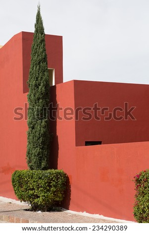modern Spanish architecture in Mexico - stock photo