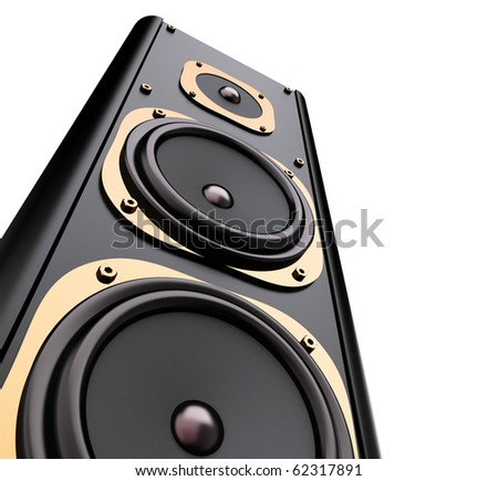 modern speaker system isolated on white - stock photo