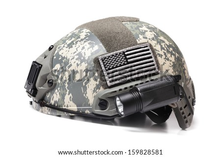 Modern Spec Ops Acupat Camo Helmet with USA Flag Patch Isolated on White - stock photo