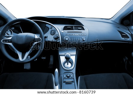 Modern sport car interior toned in blue - stock photo