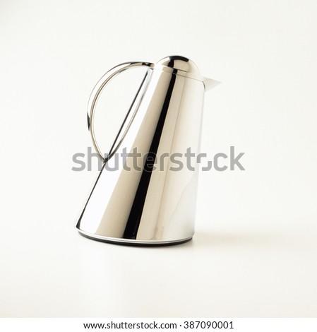 Modern Stainless steel coffee pot. - stock photo
