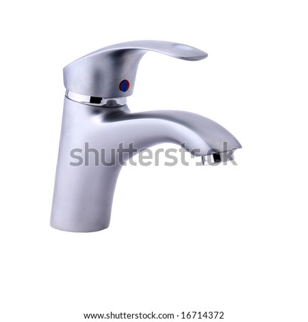 Modern stainless steel tap. Isolated on white background. In studio. - stock photo