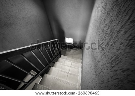 Modern staircase black and white background photo - stock photo