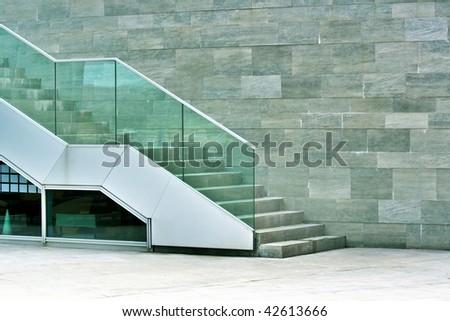 Modern stairway made of stone - stock photo