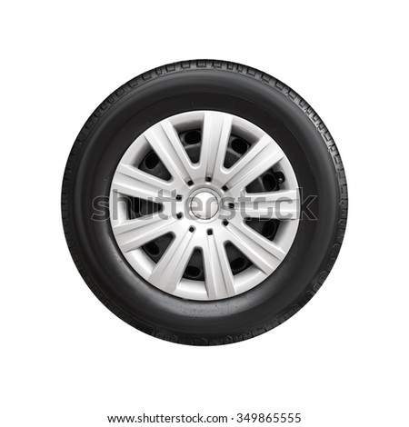 Modern steel car wheel with decorative plastic cover isolated on white background - stock photo