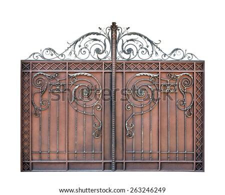 Modern steel decorative  gates.  Isolated over white background. - stock photo