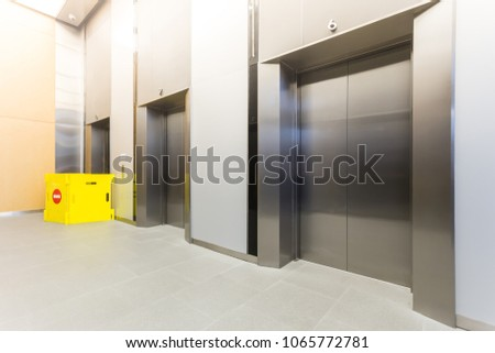 office cabins. Modern Steel Elevator Repairing Cabins In A Business Lobby Or Hotel, Store, Interior, Office