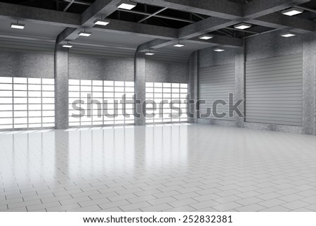 Modern Storehouse 3D Interior with Large Windows. 3D Rendering