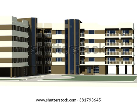 modern 5 story residential building, city building P+4E, city block