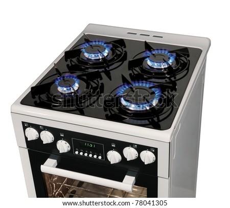 Modern stove isolated on white - stock photo