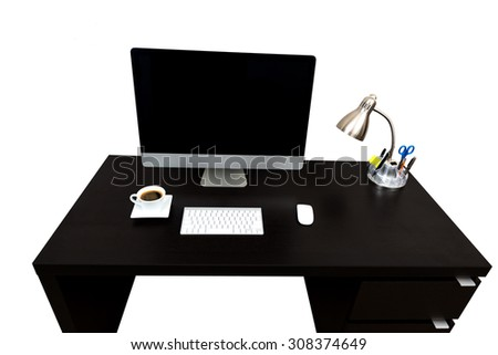 Modern straight line Black Computer Desk, White cup of Coffee small lamp, isolated over white with copy space - stock photo