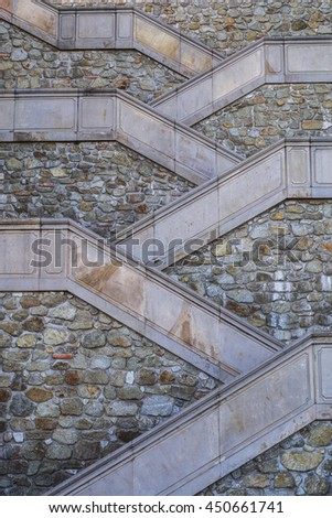 Modern straight stone staircase. Architecture background - stock photo