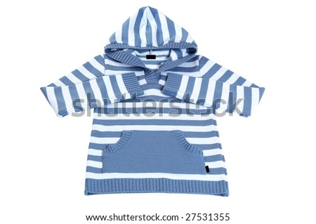 Modern,striped sweater with hood isolated  on a white background.