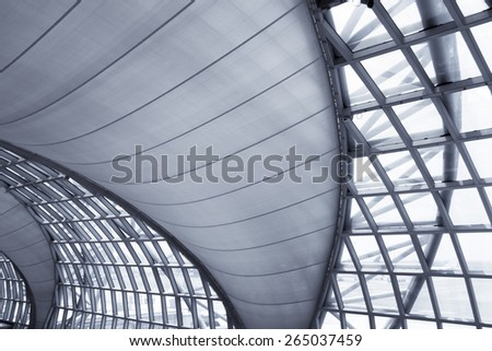 modern structure interior of building hall - stock photo