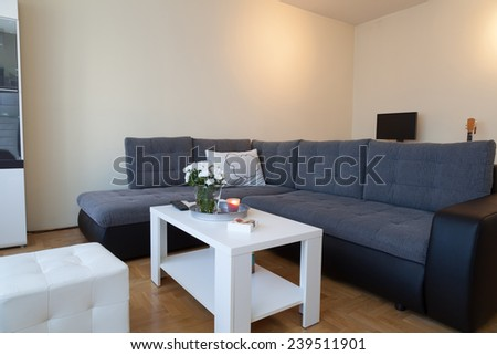 Modern studio apartment - ambient lights, enhanced colors - stock photo