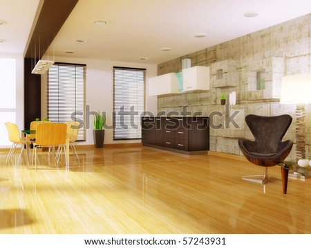 modern studio room with wood chair and glass table - stock photo