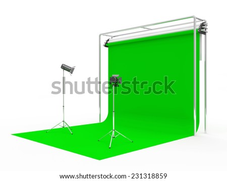 Modern Studio with Green Screen and Light Equipment isolated on white background - stock photo