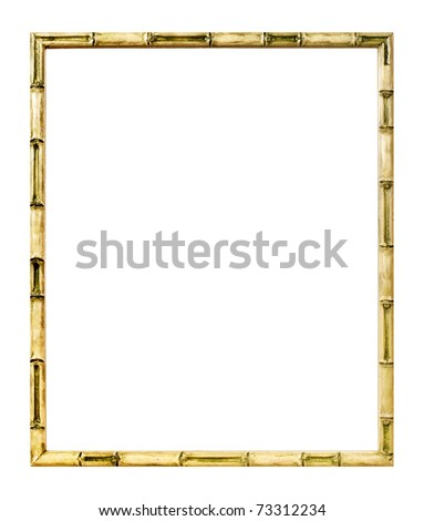 Modern style bamboo picture frame cut out over white background - stock photo