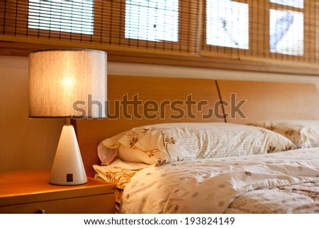 modern style bed room - stock photo