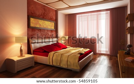 modern style bedroom interior 3d rendering - stock photo