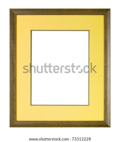 Modern style brown wooden picture frame with yellow cardboard matte, cut out over white background