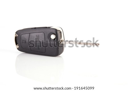 modern style car key with remote control - stock photo