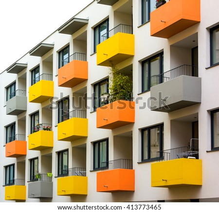 Modern-style city apartment building  - stock photo
