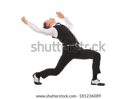 modern style dancer dancing isolated on studio white background