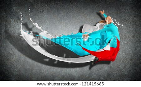 Modern style dancer jumping and paint splashes. Illustration - stock photo