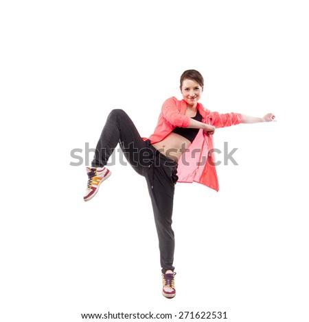 modern style dancer posing on studio white background - stock photo