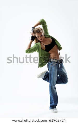 modern style dancer posing on white background