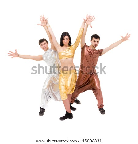 modern style dancers dancing on a white background - stock photo