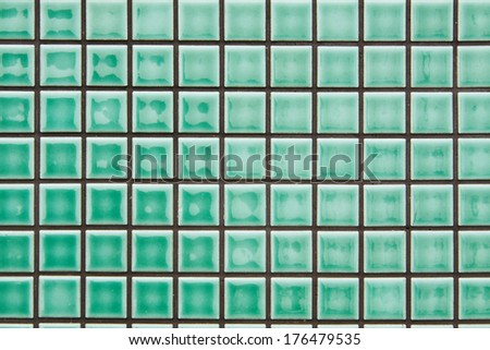 modern style design of green mosaic tile texture wall of floor, wall, pattern, decorate and background - stock photo