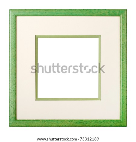 Modern style green wooden picture frame with cardboard matte, cut out over white background - stock photo