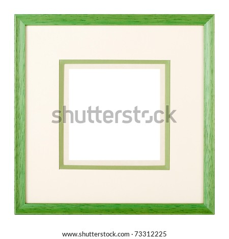 Modern style green wooden picture frame with cardboard matte, cut out over white background