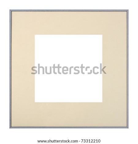 Modern style grey picture frame with cardboard matte, cut out over white background - stock photo