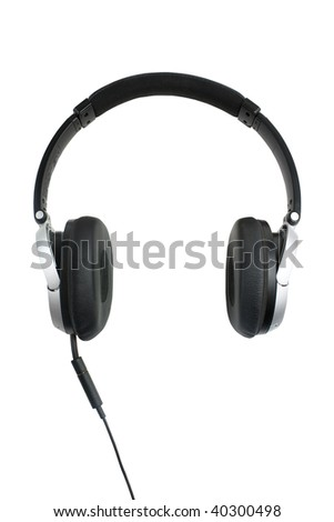 modern style headphones shot on a white background