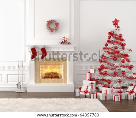 modern style interior of fireplace with christmas tree and presents in white and bright red - stock photo