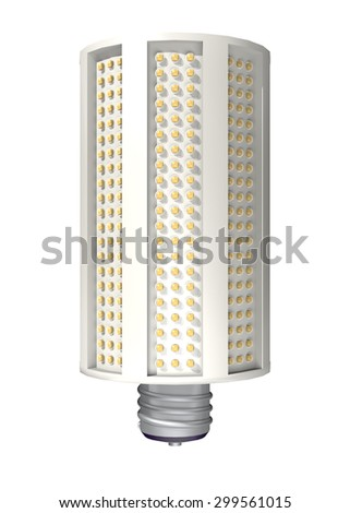 Modern style LED bulb that saves enery and is good for the environment. - stock photo